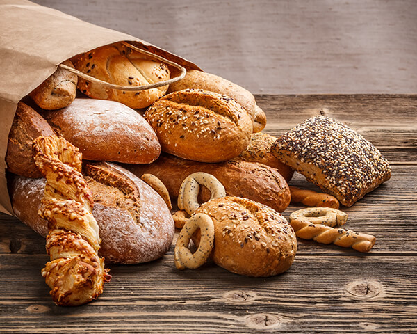A variety of fresh bread and buns