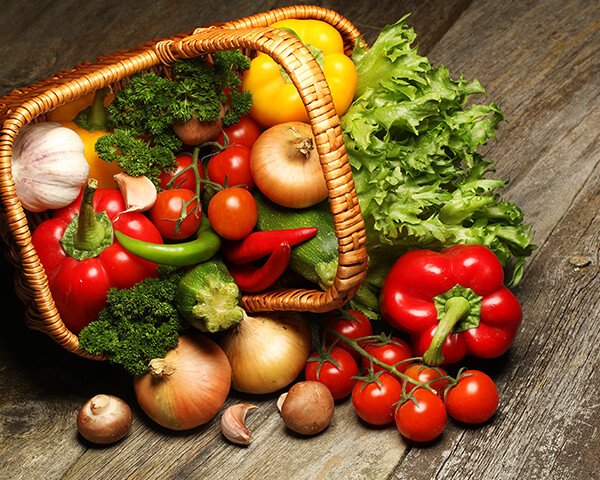 A variety of fresh vegetables in basket